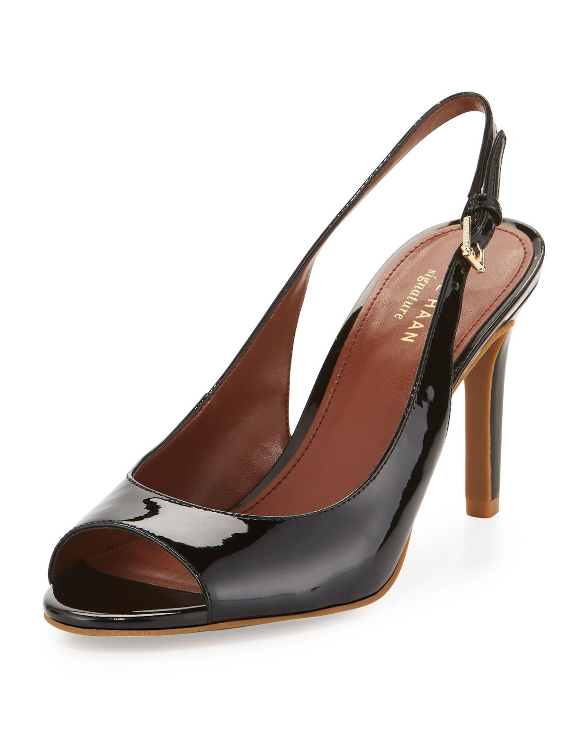Cole Haan Juliana Patent Slingback Peep-Toe Pump, Black, Women's, Size: 10, Black Pate