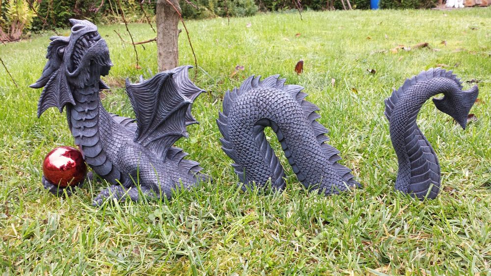 Xl Grosser 3 Teiliger Drache Mit Kugel Statue Fantasy Garten Figur Dragon Gartenfiguren Dragons Figuren Diy Feengarten
