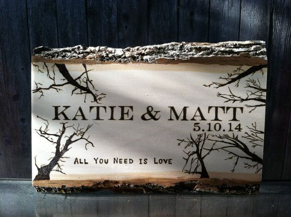 Wood burned wedding anniversary gift personalized plaque with