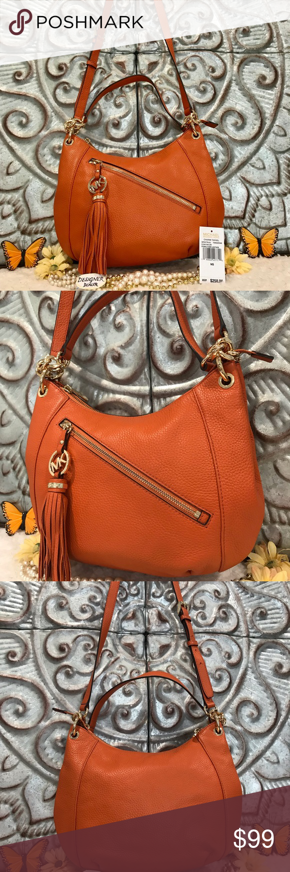 fabc5dbd9ec9 MICHAEL KORS Tassel Charm Shoulder Bag Tangerine Authentic Michael Kors  Charm tassel tangerine convertible Shoulder pebble