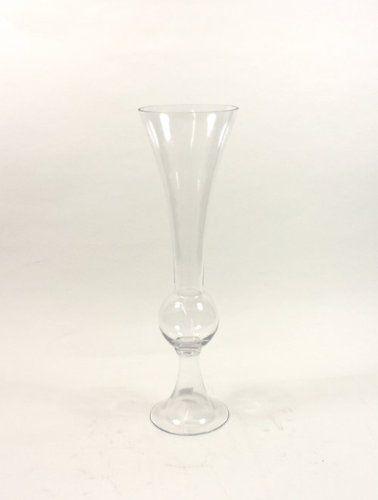 Clear Medium Unique Trumpet Glass Vase Holder Open 6 Height