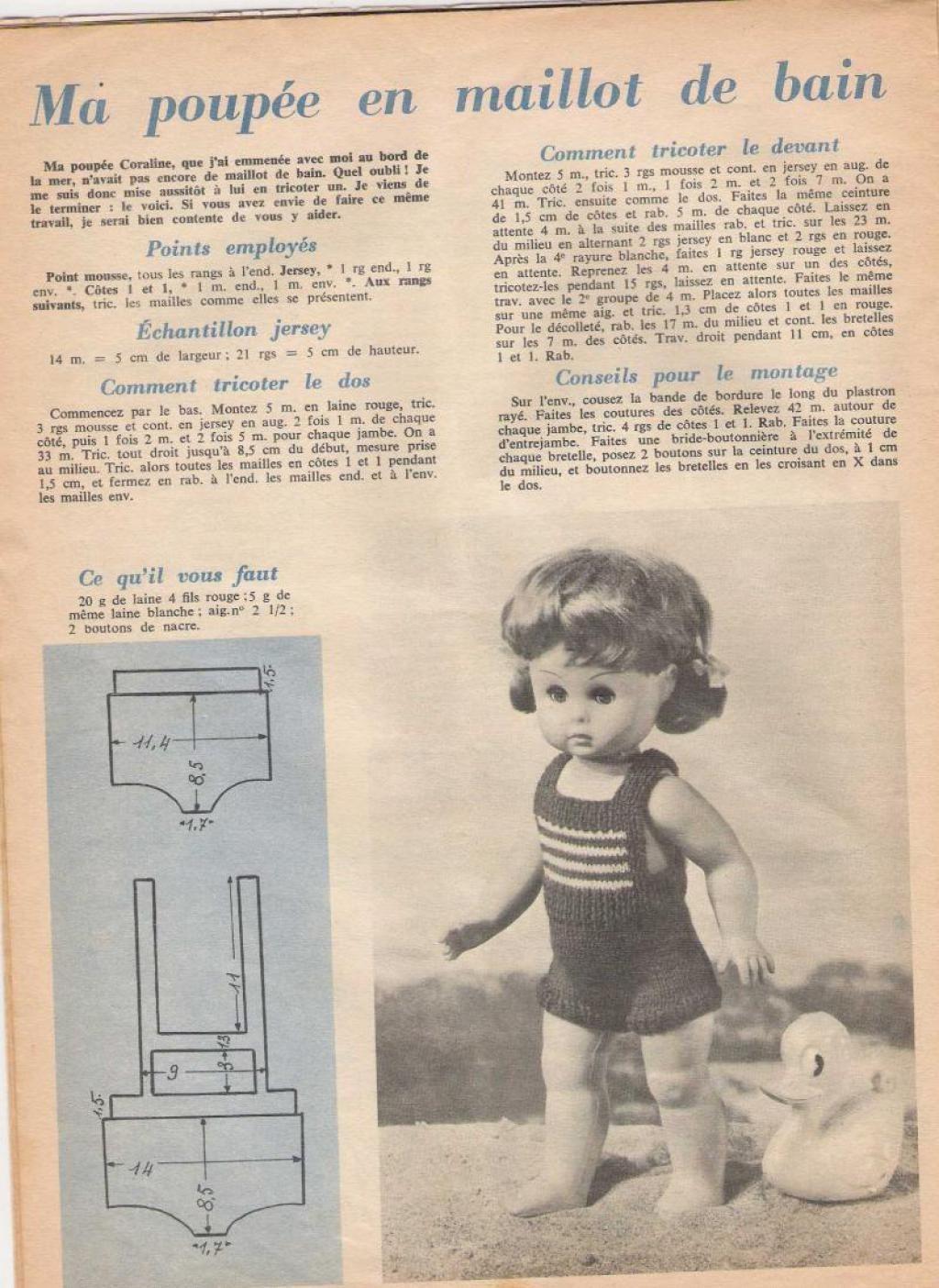 PAR AMOUR DES POUPEES :: 1964-16-08 Maillot de bain pour Lisette ...