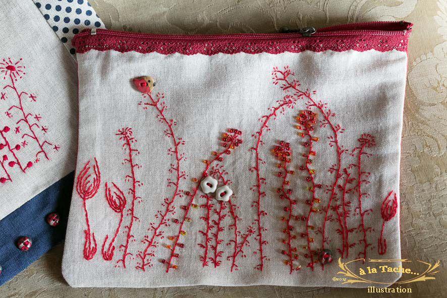 Kit pochette 'Rectangle Fleurs' sur du métis pré-imprimé. ref.K.010 : Mercerie par a-la-tache