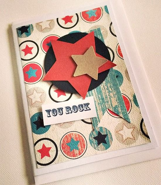 Boys Handmade Gift Card Card, Stars, blue, red, black, Birthday  www.kokovanilladesigns.com.au