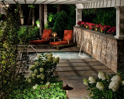 Romantic Outdoor Patio Spa With Waterfall Ideas Outdoor