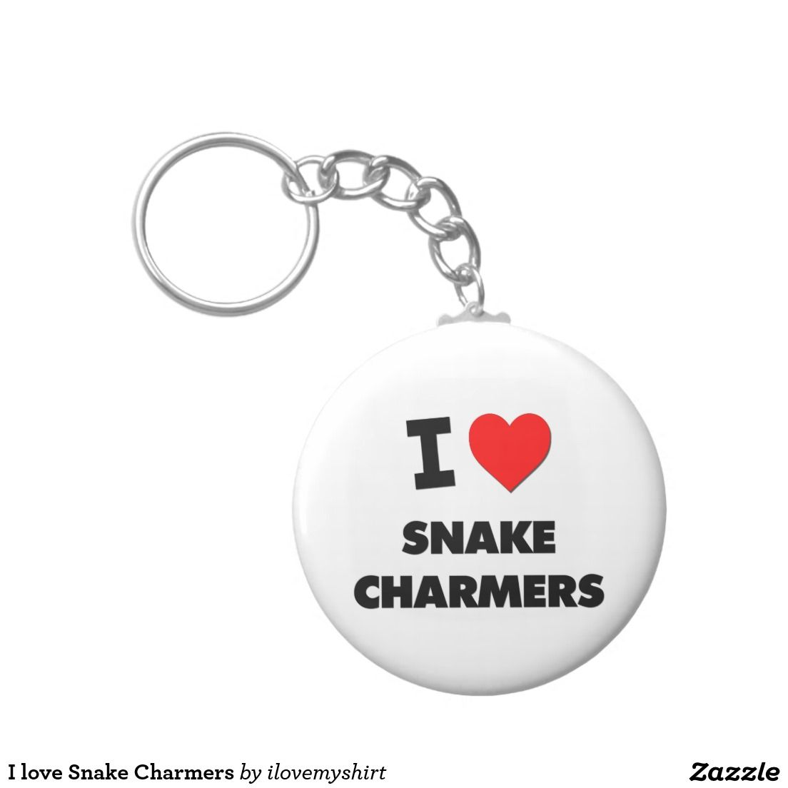 I love Snake Charmers Basic Round Button Keychain