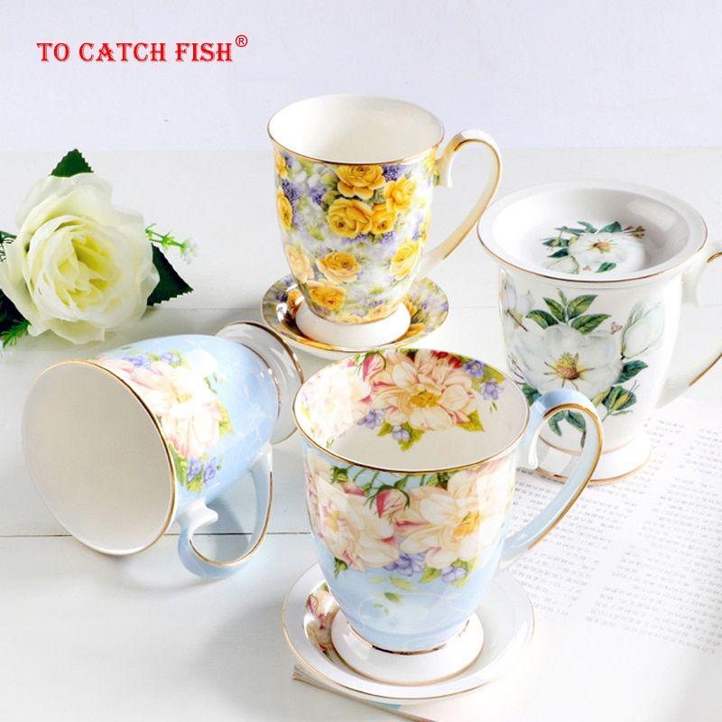 High Quality Ivory Porcelain Elegant Coffee Cup Ceramic Mugs Luxury British Style Afternoon Tea Cup Office Mug Coffee Cup Gifts Porcelain Mugs Ceramic Mugs