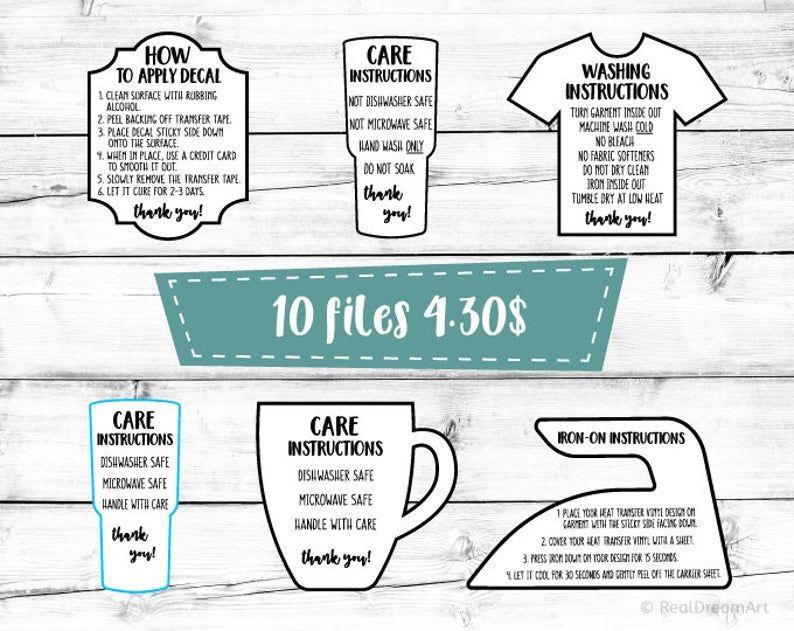 Care Instructions Svg Bundle Decal Application Garment