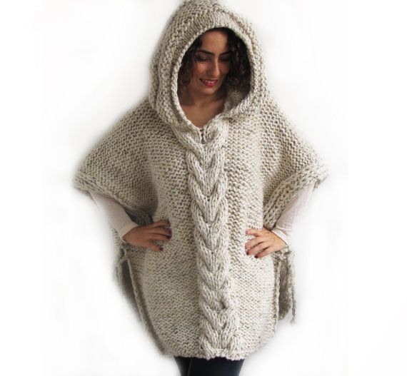 Tweed Beige Hand Knitted Poncho With Hood Poncho Mit Kapuze