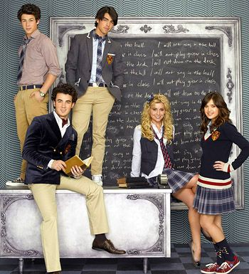 Jonas Tv Show. Nick Jonas, Joe Jonas, Kevin Jonas, Chelsea Staub & Nicole Anderson