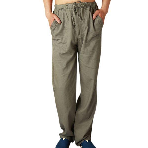 Juleya Pantalones para hombres Pantalones de mediana edad Pantalones casuales Pantalones de cintura alta Suelto… Fh8yC