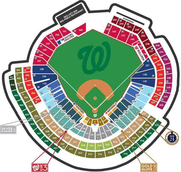 Seating Map Nationals Park Baseball Ticket Washington Nationals