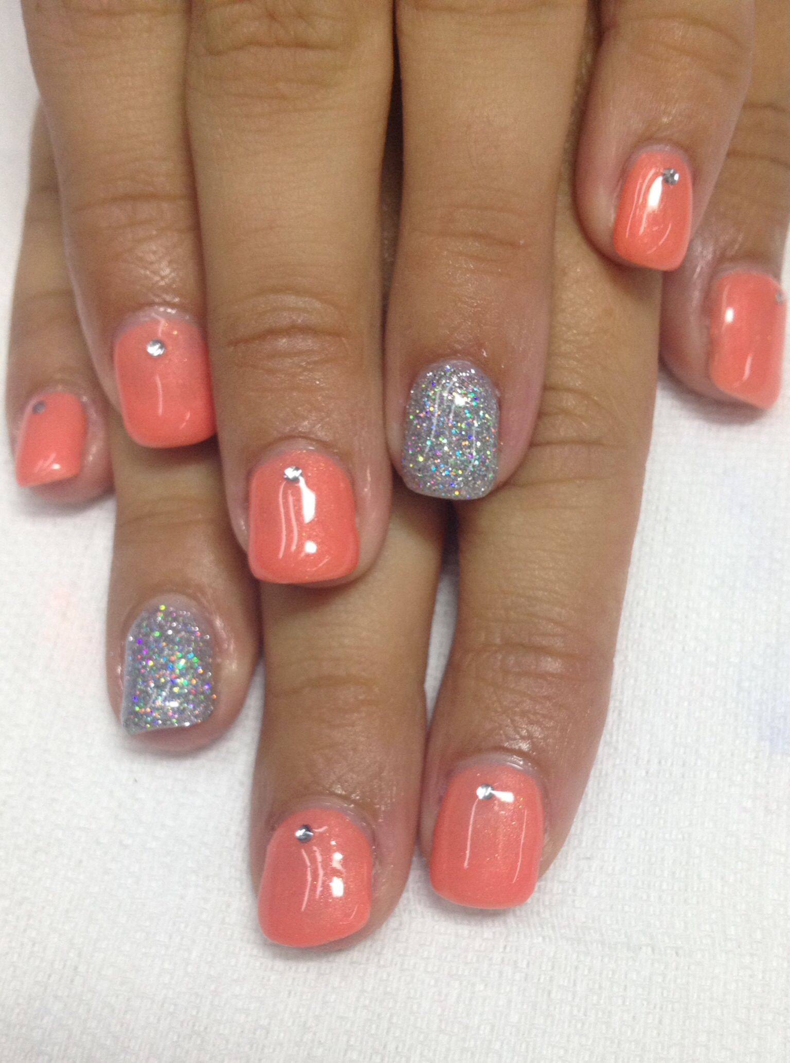Very Cool Orange Coral Summer Nails Pigment Powder Added To Non
