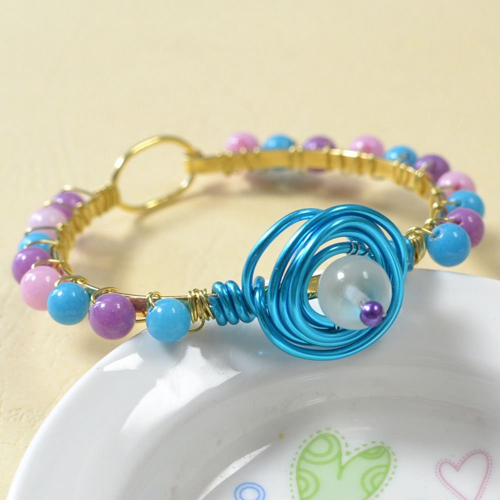 Wire wrapped and jade beads bracelet, see more details from ...