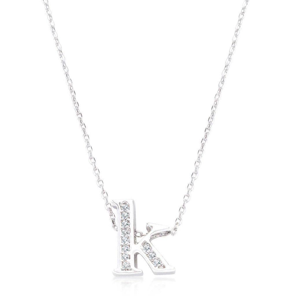 K pave initial pendant genuine rhodium plated plated pave cubic k pave initial pendant genuine rhodium plated plated pave cubic zirconia initial pendant with lobster aloadofball Image collections