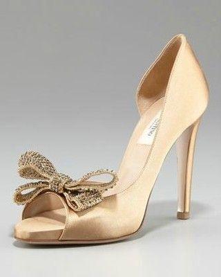1f1fcb4aea650 Valentino Beige Gold Satin Jewelery Bow Peep Toe D'orsay Pump Shoe 38.5