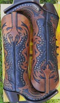 Corral Boots G1072 Black/Cognac Laser Tall Inlay/Studs