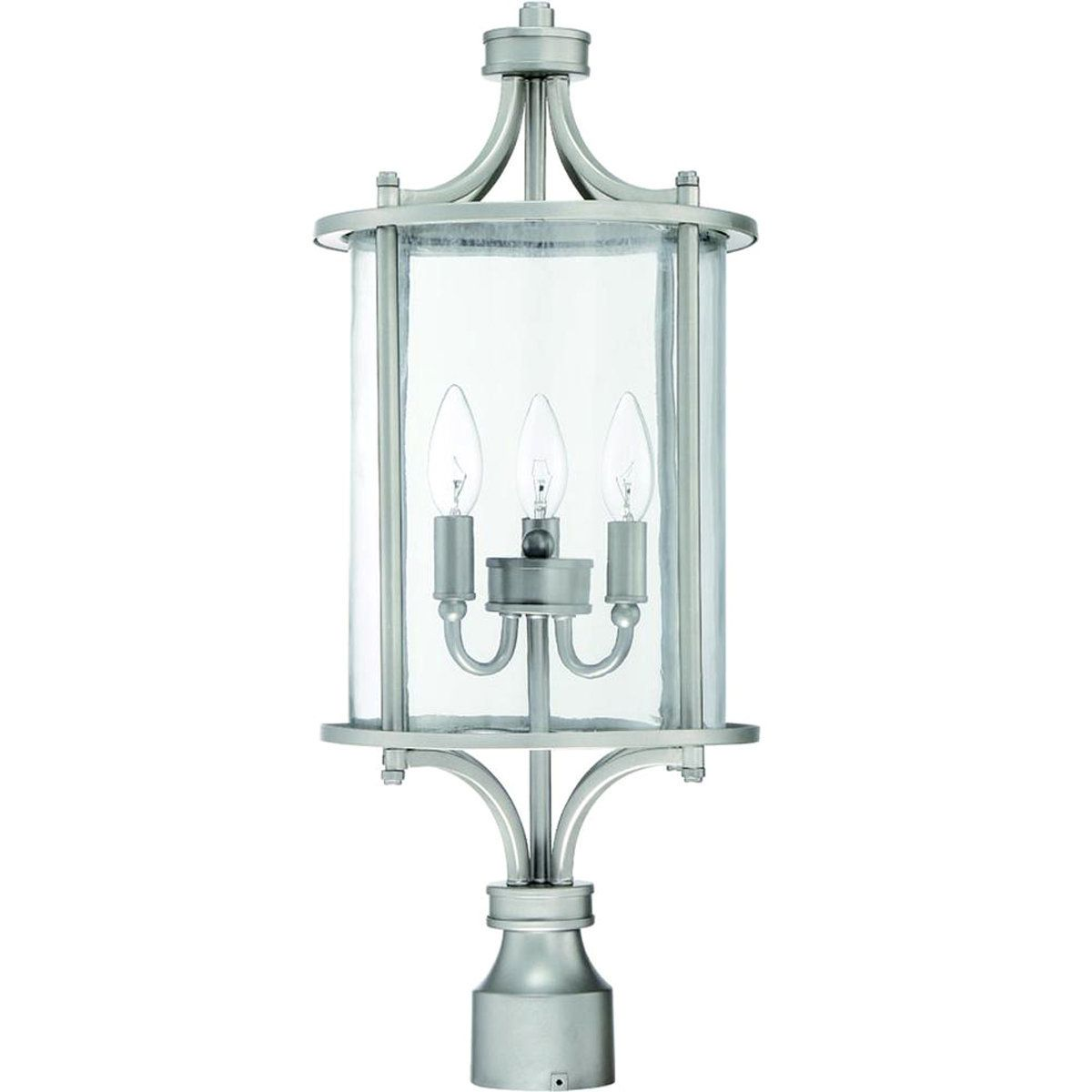 Transitional Cylinder Outdoor Post Lantern Chrome