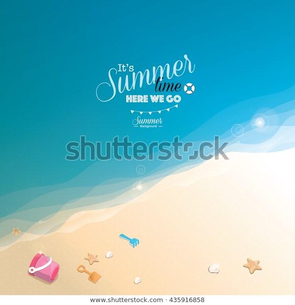 Summer Beach Vector Background เวกเตอร สต อก ปลอดค าล ขส ทธ 435916858 ภาพประกอบ