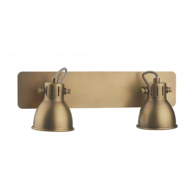 Dar lighting idaho single light switched spotlight wall fixture in a natural brass finish