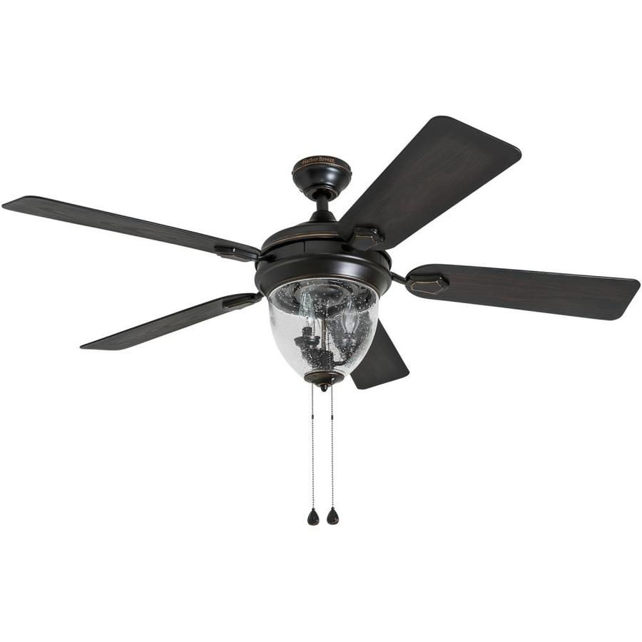 Harbor Breeze Ellesmere 52 In Oil Rubbed Bronze Indoor Ceiling Fan With Light Kit 5 Blade Lowes Com Fan Light Ceiling Fan Ceiling Fan With Light