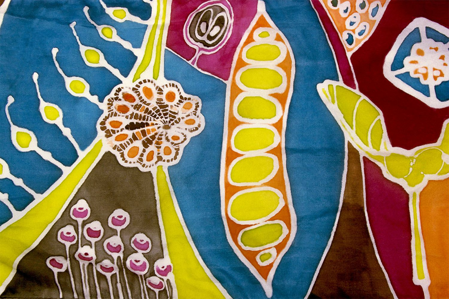 Hand-painted silk scarf depicting seeds and pods, by Adriana Mederos for Guatopo www.aquatrogallery.com