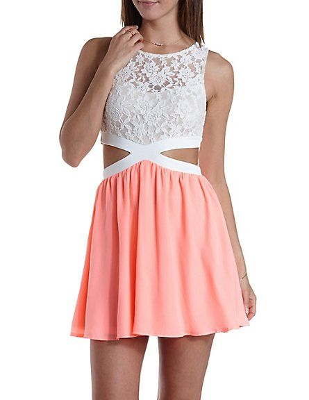 3981caf09f6 Lace   Chiffon Cut-Out Skater Dress  Charlotte Russe