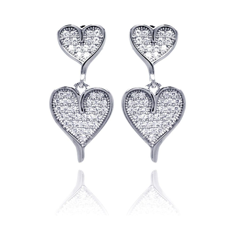 .925 Sterling Silver Rhodium Plated Micro Pave Clear Graduated Heart Cubic Zirconia Dangling Earring