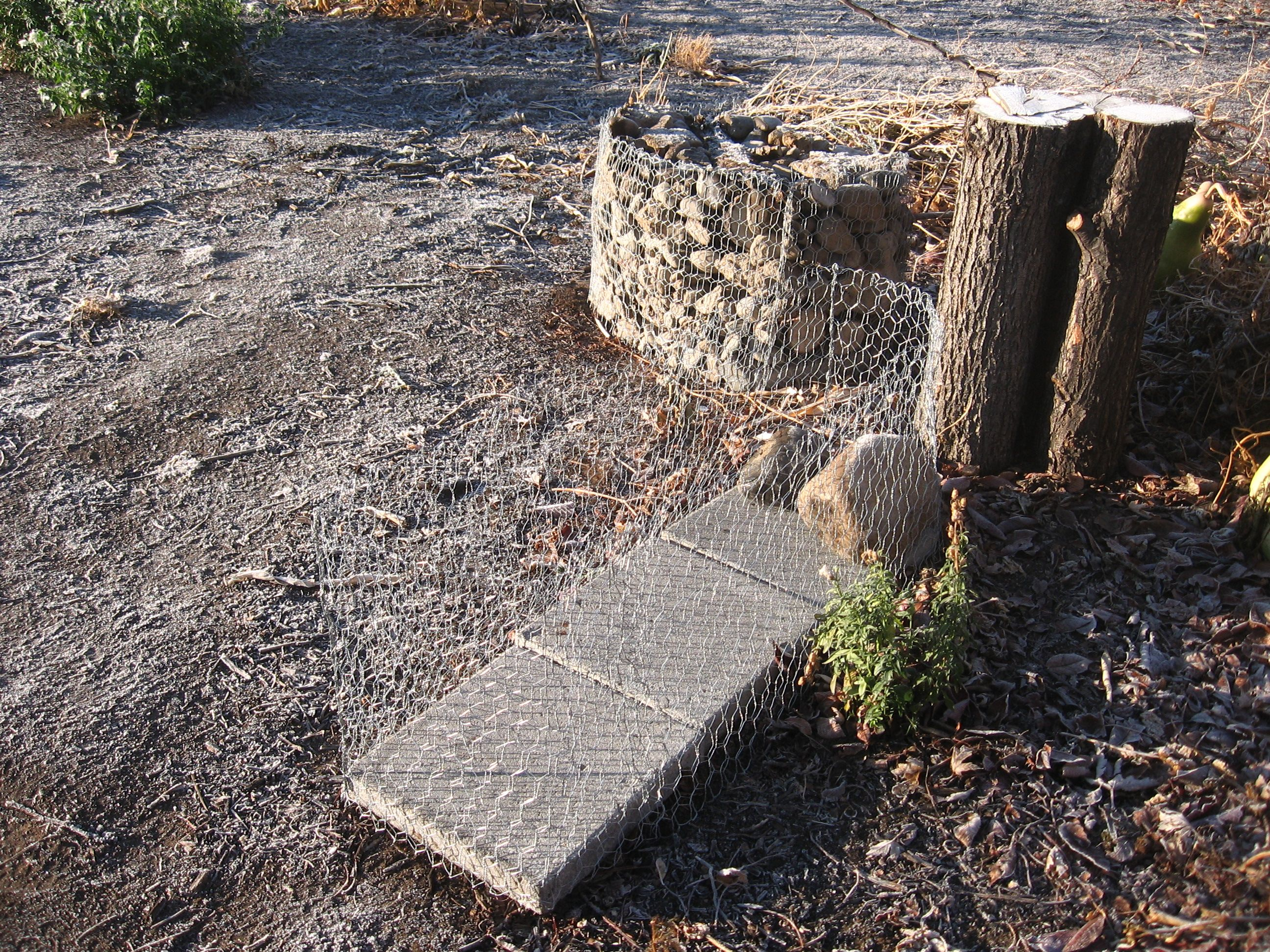 Building the gabions. I\'m trying chicken wire baskets this time ...