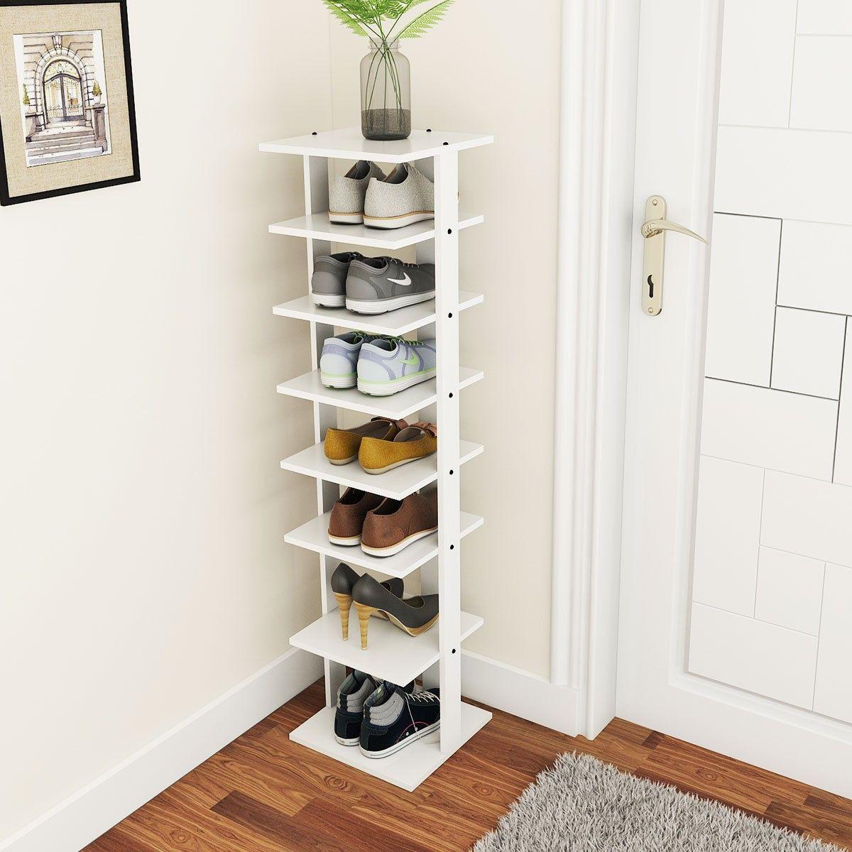7 tier free standing shelving unit in 2020 wooden shoe on shoe rack wooden with door id=76859