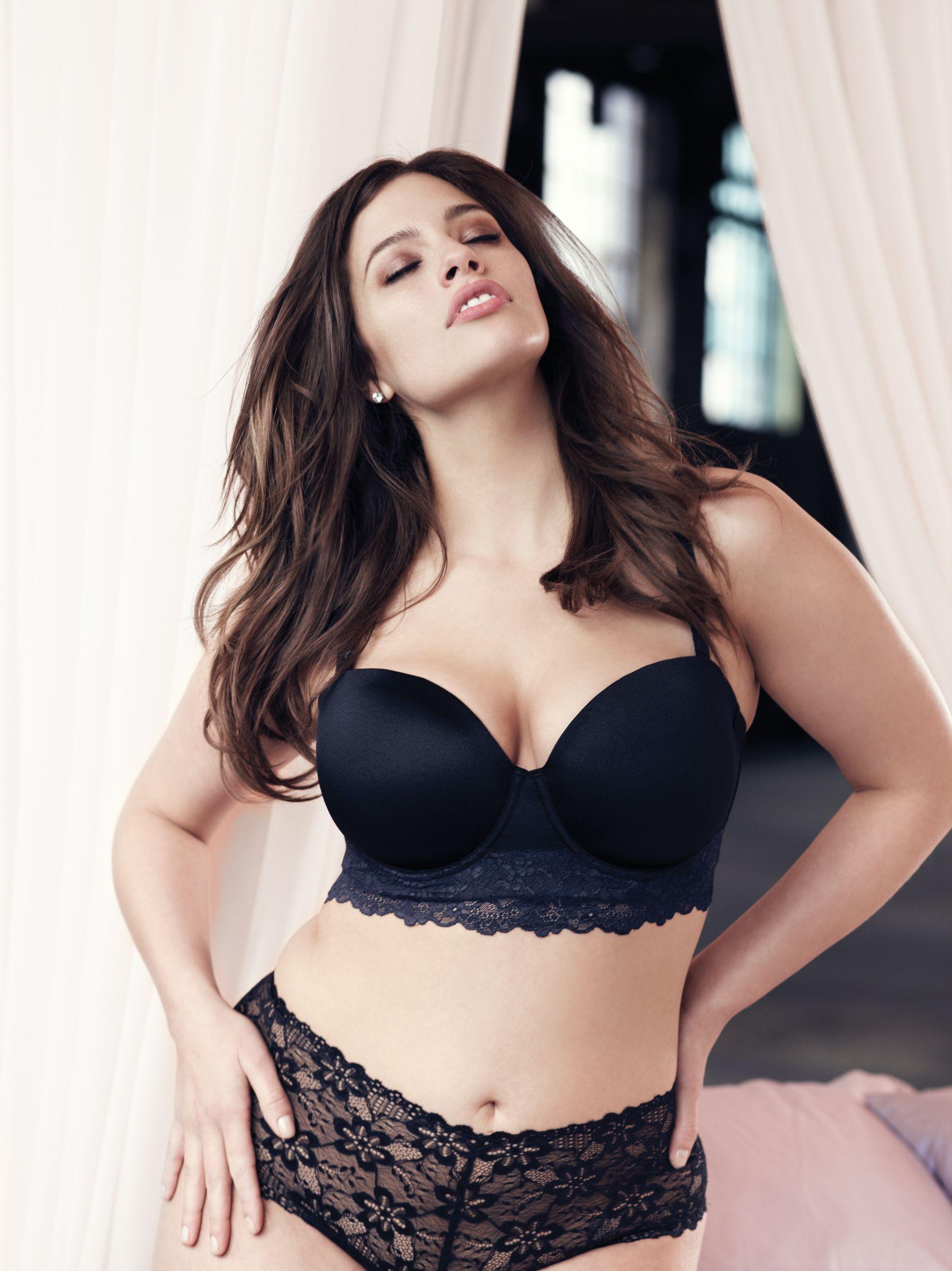 cb83cf45de Addition Elle plus size longline lace trimmed bra and stretch lace thong.