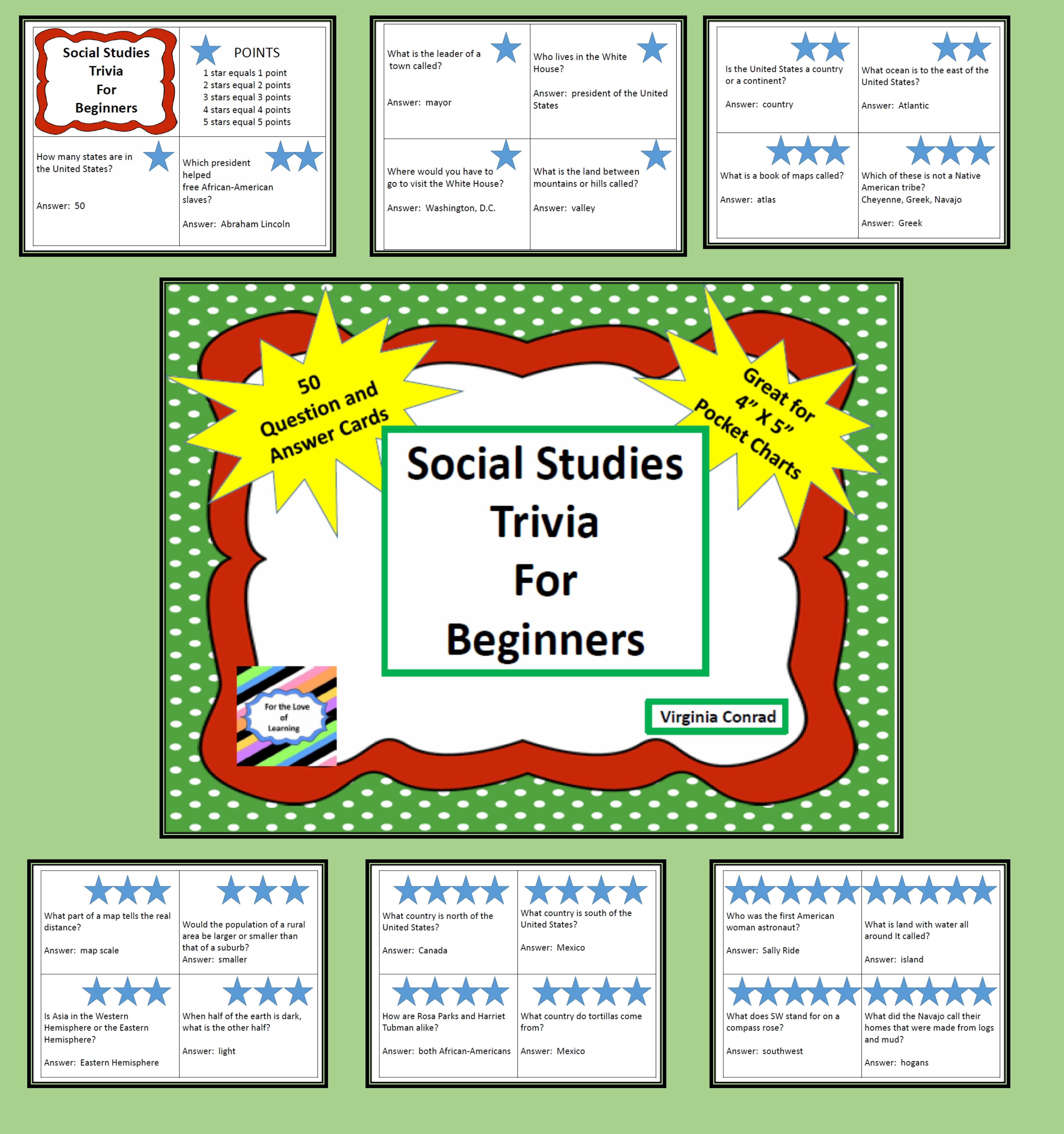 social studies trivia for beginners question and answer cards this set of 50 question and answer cards will get kids thinking about social studies the number of stars on each card indicates the number of points