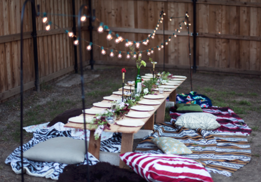 Simple outdoor party seating | My fish | Outdoor dinner parties
