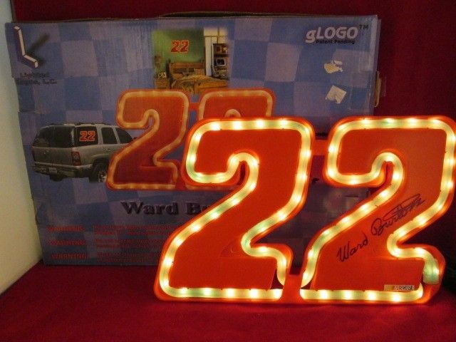 "Ward Burton NEON SIGN #22 Red Nascar WITH CAR LIGHTER Lights UP 12"" X 8"" NEW @@@"