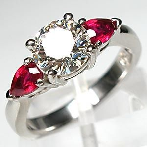 125ct Solitaire And Ruby Engagementwedding Ring 925 Sterling Silver