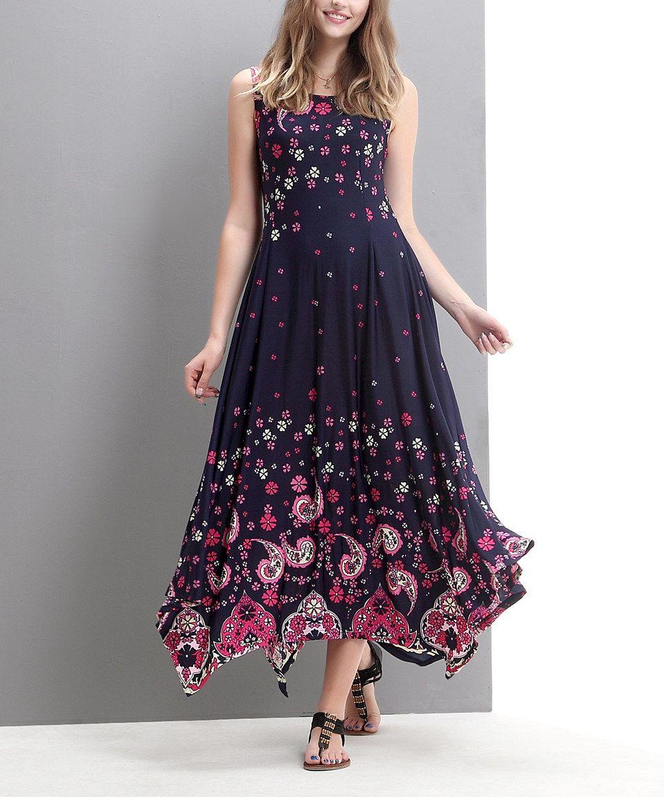 2a3005071a Navy Paisley Handkerchief Maxi Dress by Reborn Collection  zulily   zulilyfinds