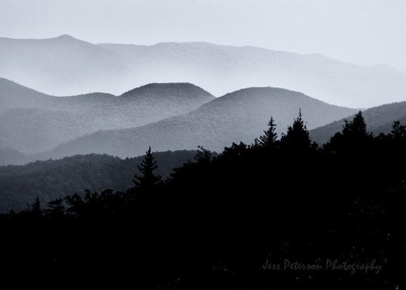 Blue Ridge Mountains Photo Mountain Photography Black White Etsy Black And White Landscape Mountain Photography Mountain Photos
