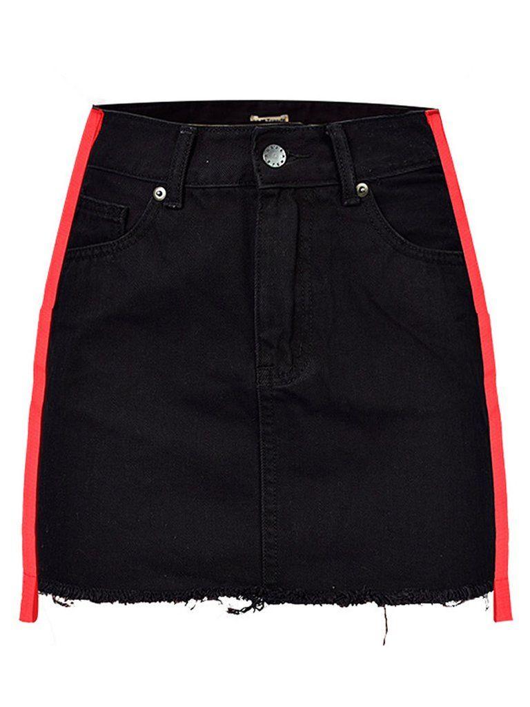 272d0eb59fc1 Roxsane Red Striped Black Denim Skirt in 2019 | Fall Outfits | Black ...