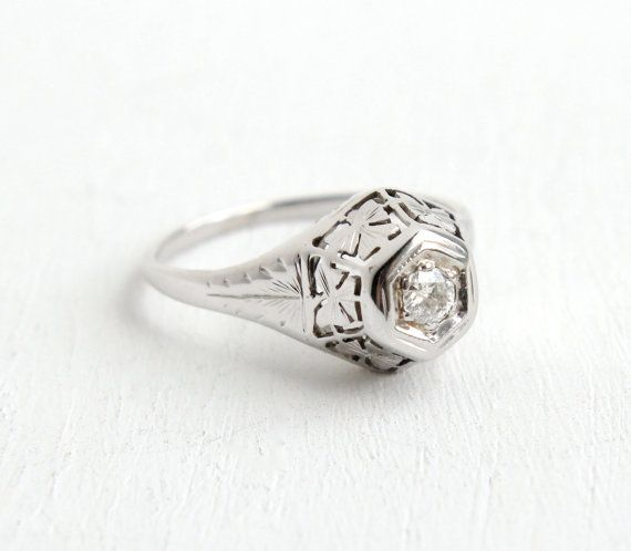 Sale Antique 14k White Gold Art Deco 1 10 Carat Diamond Ring Etsy Gold Art Deco Antique Rings Vintage 10 Carat Diamond Ring