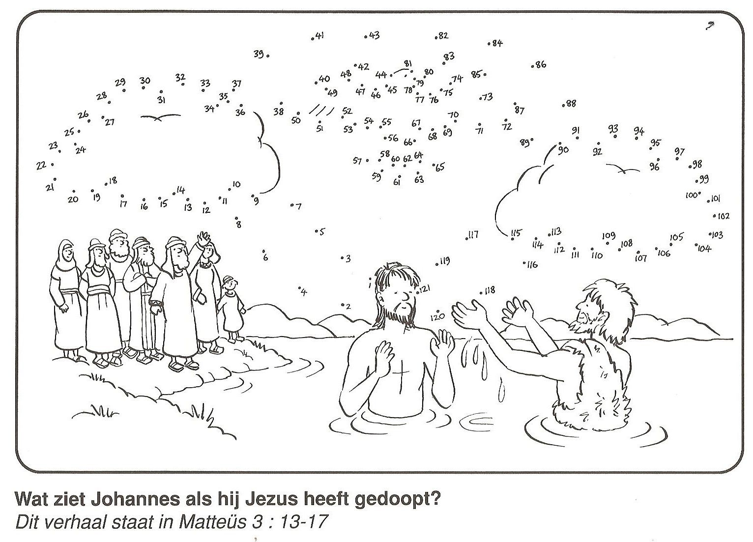 Jezus Gedoopt Door Johannes De Doper Duif Van Stip Naar Stip