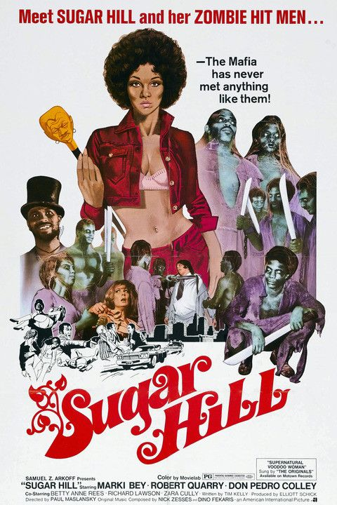 "Sugar Hill - 1974 When nightclub owner Langston (Larry D. Johnson) refuses to sell out to local mob boss Morgan (Robert Quarry), he is beaten to death by a gang of hired thugs. His grief-stricken fiancee, Diana ""Sugar"" Hill defends his honor...did i forget to mention zombie hitman, lol"