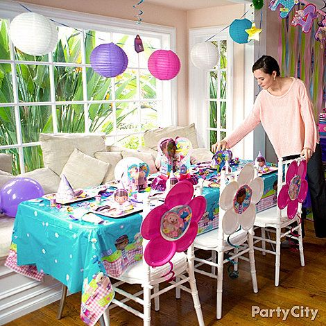 Themed Banners Streamers And Swirl Cutout Decorations Will Turn Any Room Into A Doc McStuffins