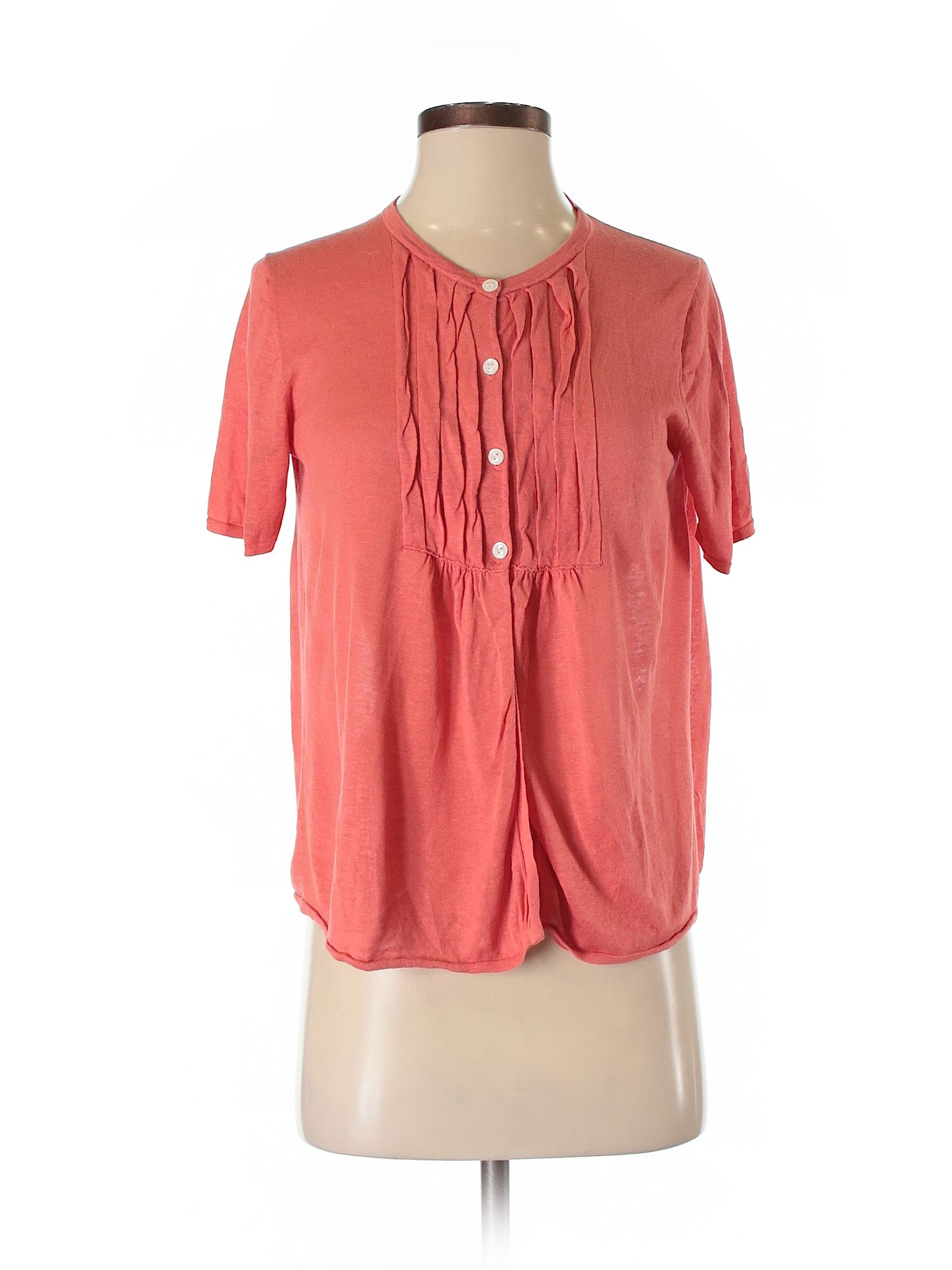 J Crew Short Sleeve Silk Top Size 400 Coral Womens