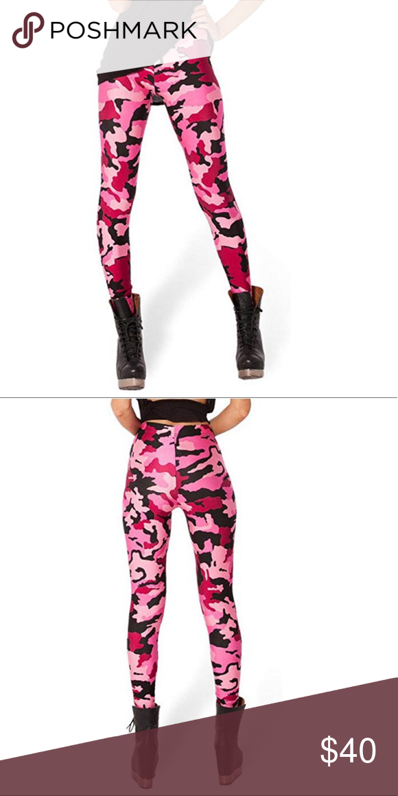 15c528e0f5497 Pink Camo Leggings 88% Polyester/12% Spandex Machine wash cold, do not  bleach, tumble dry low. Size: Free Size, Waist 26''--36'', Hip 31''--44'',  ...