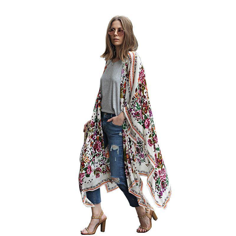 Buy Summer Style Women Long Chiffon Kimono Cardigan Blusa Feminina ...