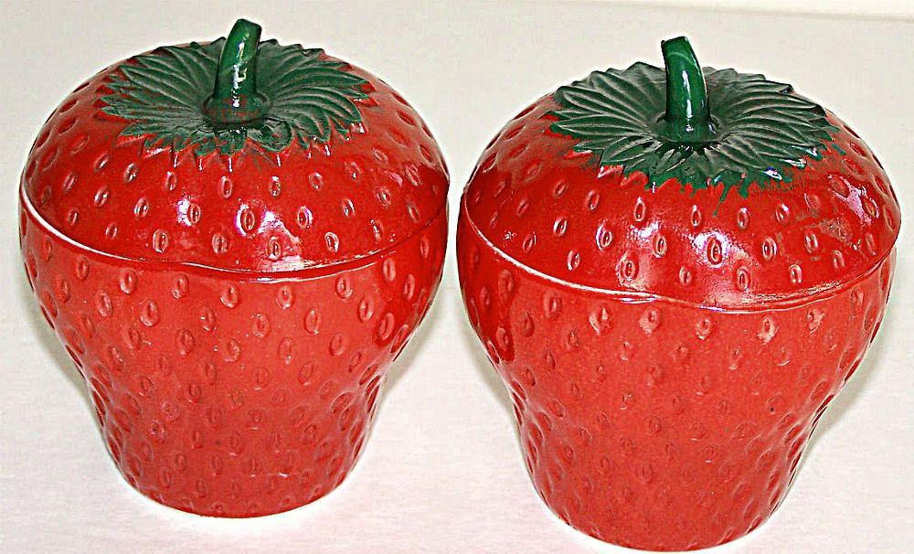 Lot 2 Vintage Hazel Atlas Milk Glass Painted Red Strawberry Jelly Jam Jar +Lids  #HazelAtlas