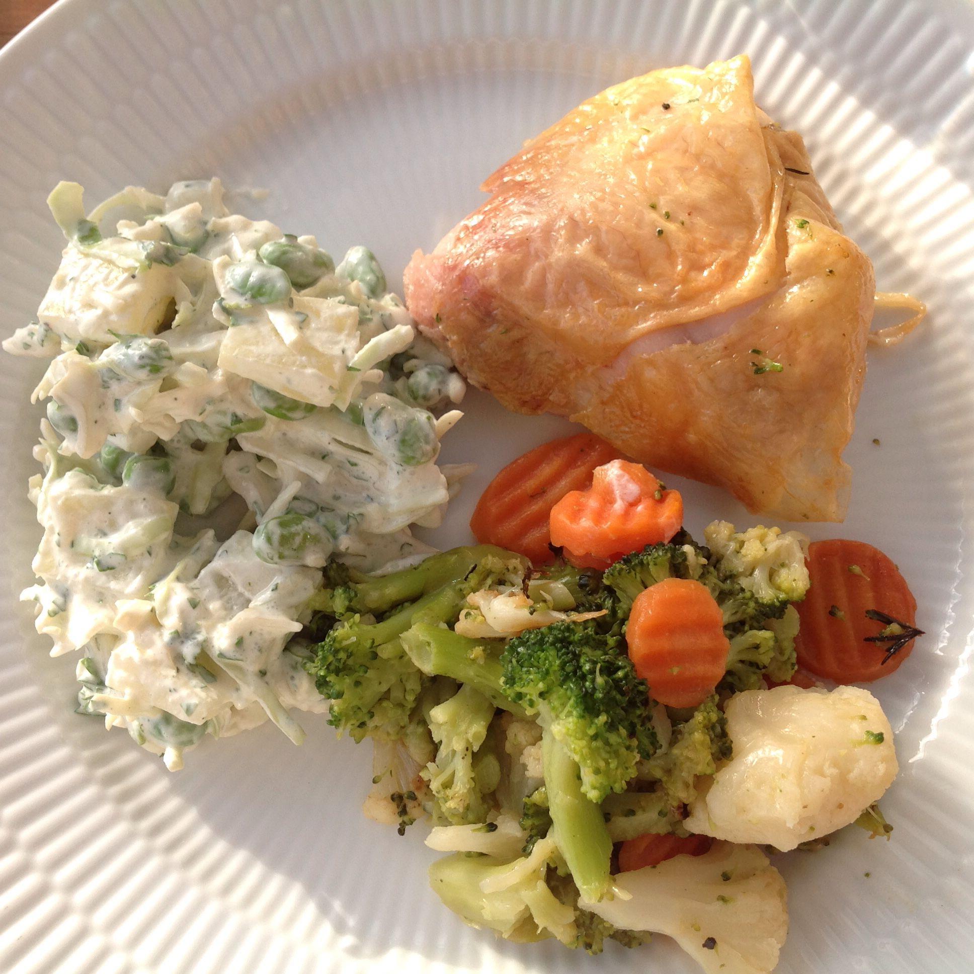 Kylling, grønt, cremet spidskål