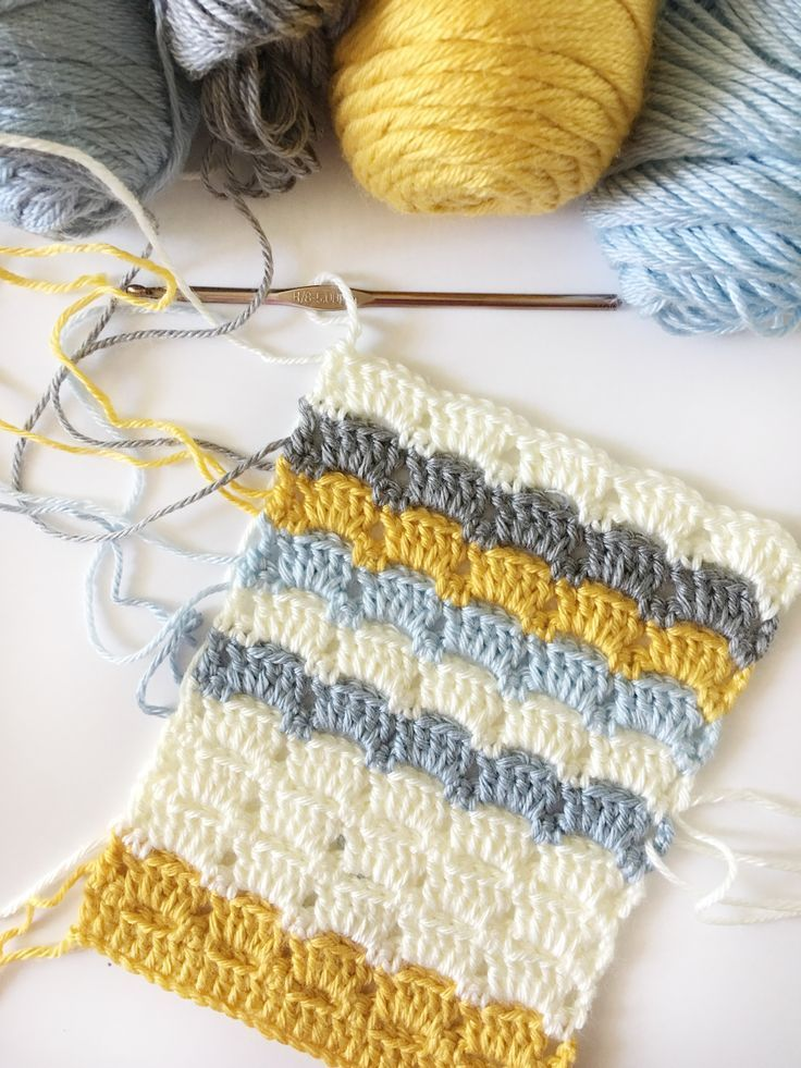 Modern crochet geometric baby blanket. This blocked box stitch makes ...