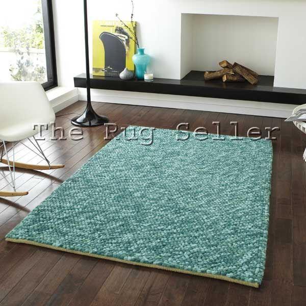 Pebbles Wool Shaggy Rugs In Teal Buy Online From The Rug Seller Uk