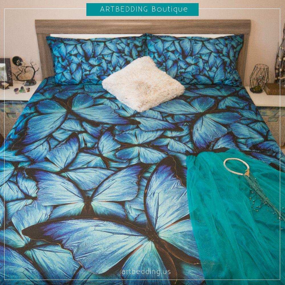 Blue butterflies 3D print Duvet cover, premium butterflies